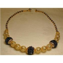 Estate 14K Sapphire Etruscan Filigree Necklace #2391161