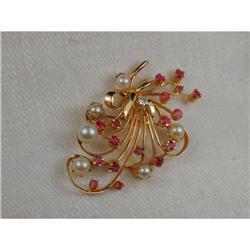 Estate 14K Ruby Diamond Cultured Pearl Brooch #2391162