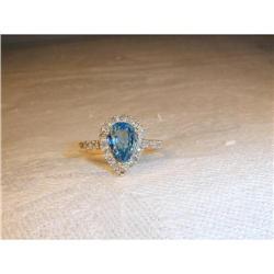 Estate 14K Micro Pave Diamond Blue Topaz Ring #2391163