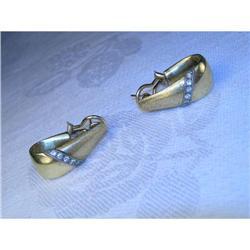 Estate 14K YG Gold Diamond Hoop Earrings Hoops #2391165