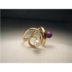 Estate 14K Gold Black Pearl Designer Swirl Ring#2391166