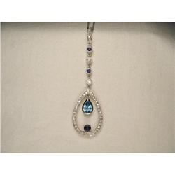 14K WG Topaz Diamond Sapphire Drop Necklace  #2391167