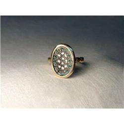 18K Pink Gold Rose Cut Diamond Emerald Ring #2391169