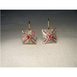 18K Pink Gold Rose Cut Diamond Ruby Earrings #2391170