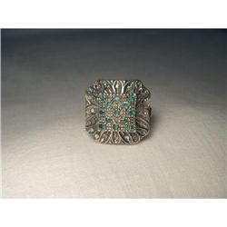 18K Pink Gold Rose Cut Diamond Emerald Ring #2391171