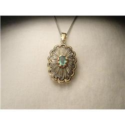18K Gold Rose Diamond Emerald Filigree Pendant #2391172
