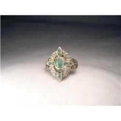 Antique 18K Pink Gold Rose Diamond Emerald Ring#2391173