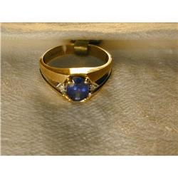 14K YG 1 CT Carat Sapphire Diamond Mens Ring #2391174