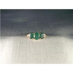 14K YG Filigree Tri-Stone Emerald Diamond Ring #2391175