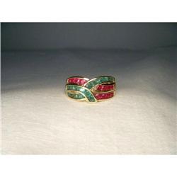 Estate 14K YG Gold Ruby Emerald X Ring Band #2391178