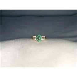 Estate 14K YG Emerald Diamond Marquise Ring #2391179