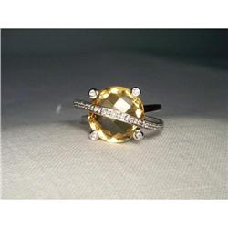14K WG Gold Huge Citrine Diamond Filigree Ring #2391181