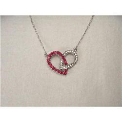 14K WG Gold Diamond Ruby Heart Necklace #2391182