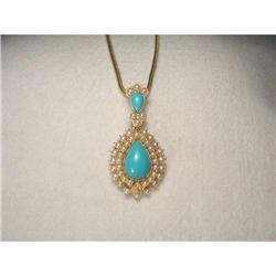 Victorian 18K YG Turquoise Seed Pearl Enhancer #2391183