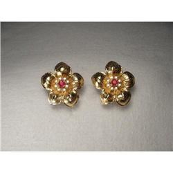 Estate 14K YG Gold Diamond Ruby Floral Earrings#2391184