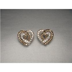 Estate 18K WG Gold Brown Diamond Heart Earrings#2391185