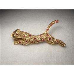 14K Yellow Gold Ruby Jaguar Panther Pin Brooch #2391186
