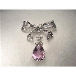 14K WG Filigree Amethyst Diamond Bow Brooch #2391187