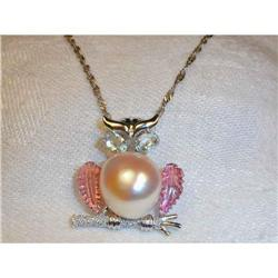 18K WG Aquamarine Tourmaline Pearl Owl Brooch #2391188