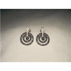 14K WG Sapphire Diamond Circle Drop Earrings #2391189