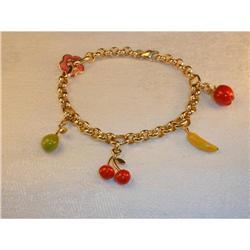 Estate 14K YG Gold Enamel Fruit Charm Bracelet #2391190