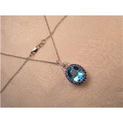 Estate 14K WG Diamond Topaz Sapphire Pendant #2391192