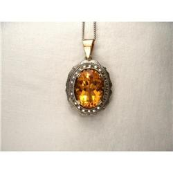 18K Pink Gold Diamond Citrine Filigree Pendant #2391193