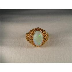 Antique Estate 18K YG Gold Filigree Opal Ring #2391194