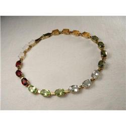 14K Gold Tourmaline Peridot Aquamarine Bracelet#2391196