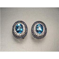 14K WG Sapphire Diamond Topaz Filigree Earrings#2391197