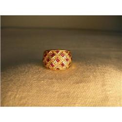 Estate 18K YG Gold Wide Ruby Pave Diamond Band #2391198