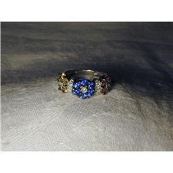 18K WG Sapphire Diamond Flower Floral Ring Band#2391200