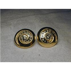 14K Two-Tone 2-Tone Gold Diamond Swirl Earrings#2391202