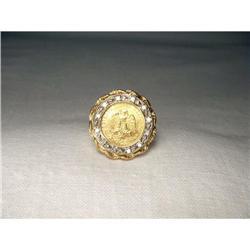 18K YG Diamond Mexican Pesos Coin Ring #2391205