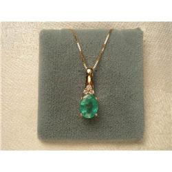 Estate 14K YG Filigree Emerald Diamond Necklace#2391206