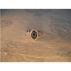 Antique 14K WG Sapphire Diamond Marquise Ring #2391207
