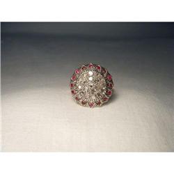 Estate 18K Pink Rose Gold Diamond Ruby Ring #2391208