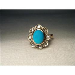 18K Pink Gold Diamond Turquoise Floral Ring #2391209