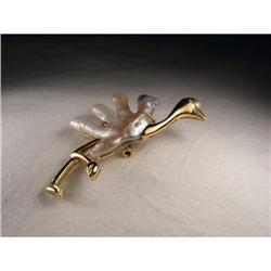 18K YG Gold Diamond Biwa Pearl Ostrich Brooch #2391210
