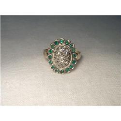 18K Pink Gold Rose Cut Diamond Emerald Ring #2391215
