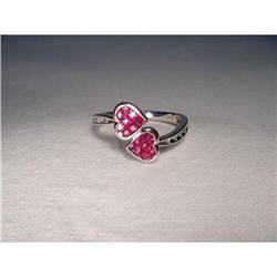 Estate 10K 14K WG Ruby Diamond Heart Ring #2391216