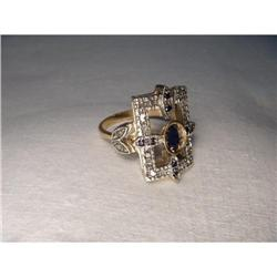 Antique 18K Pink Gold Diamond Sapphire Ring #2391217