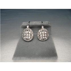 Estate 14K White Gold Diamond Filigree Earrings#2391218