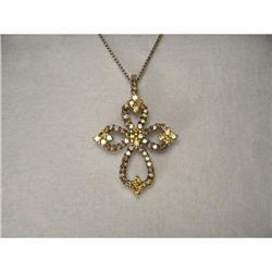 14K WG Yellow Champagne Diamond Cross Pendant #2391219
