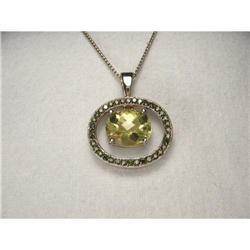 14K WG Gold Green Diamond Lemon Quartz Pendant #2391220