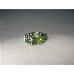 14K White Gold Peridot Tsavorite Diamond Ring #2391221