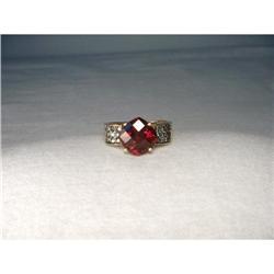 Estate 14K YG Gold Blue Diamond Garnet Ring #2391222