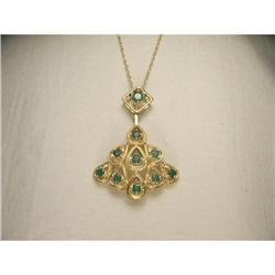 Estate 14K YG Filigree Emerald Slide Necklace #2391223