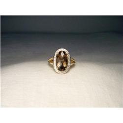 14K YG Gold Huge Smokey Quartz Diamond Ring #2391224
