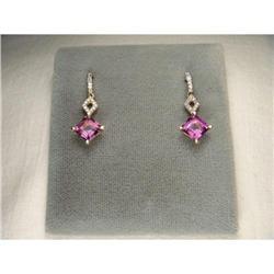 14K YG Gold Diamond Amethyst Drop Earrings #2391225